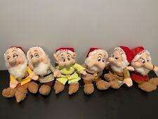 """Set Of 11"""" Disney Snow White's Six Dwarves Of Christmas Bean Bag Plush Vintage"""