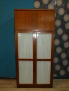 hübscher geräumiger 60er Jahre Kleiderschrank mit Glastüren und AUFBAU 110cm 60s