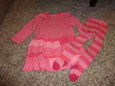 HANNA ANDERSSON 80/90 PINK STRIPED  DRESS TIGHT SET