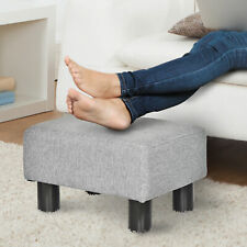 Footstool Ottoman Footrest PU Leather/Linen Fabric w/ Plastic Legs Grey Home
