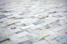 Mosaïque carreau marbre pierre naturel Splitface blanc petit 40-3D11_b |1 plaque