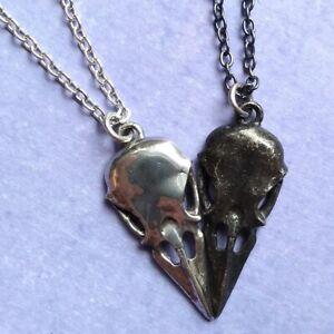 Alchemy Gothic Pewter Coeur Crane Raven Skull Couple's Friendship Necklace Set