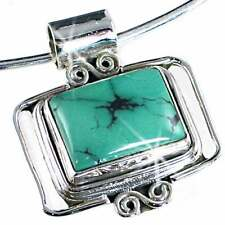 *CONTEMPORARY* TURQUOISE_HAND TOOLED PENDANT_w/WIRE__925 STERLING SILVER