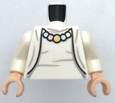Lego New White Torso Female Rumpled Top and Jacket with Necklace Pattern White