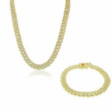 Sterling Silver Gold-Tone CZ Miami Cuban Link Chain Bracelet Set