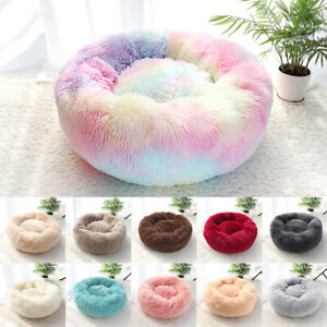 Soft Comfy Round Donut Faux Fur Pet Cat Dog Bed Cat Calming Cuddler Bed Indoor