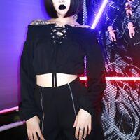 Japanese Girls Off Shoulder Short Blouse Long Sleeve Gothic Bare Midriff Tops
