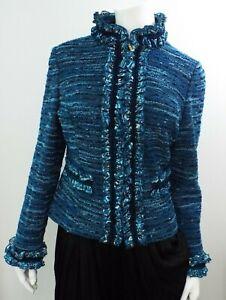 Excellent ST JOHN COUTURE Blue Green Formal Suit Jacket SIZE 8 Santana Knit Silk
