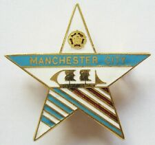 More details for manchester city - vintage c1960s/1970s star shaped enamel football pin badge