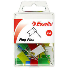 ESSELTE PUSH FLAG PINS PK50 ASSORTED MIXED COLOR 45111