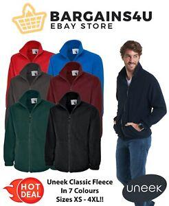 UNEEK Classic Full Zip Micro Warm Fleece Jacket Top Work Wear Sports Casual Mens