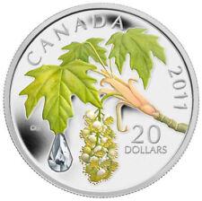 "Canada 2011 20$ Crystal Raindrop Series Maple Leaf Silver Coin Swarovski   ""4"""