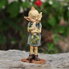Miniature Fairy Garden GARDEN PIXIE HUGGING FROG ON LEAF (NEW)