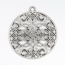5Pcs Lead Free Antique Silver Alloy Flat Round Pendants Crafts 35x2.5mm Hole 2mm