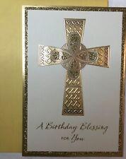 Happy Birthday Card w/ GOLD Cross by DAYSPRING