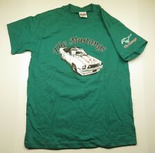 80s Retro The MUSTANGS Car & Horse Graphic Green T-Shirt Adult Men's Size Medium