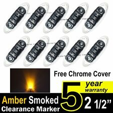 10X Smoked Lens Amber Truck Side Marker Clearance Light Oval Chrome 3 LED 12V