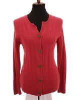 Eddie Bauer Pink Cable Knit Sweater Cardigan Stretch Womens Sz Medium