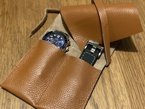 Tan REAL Leather Watch Travel Storage Makeup Pouch Roll Case