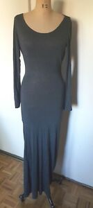 Sparkle  & Fade maxi gray bodycon stretch cut out back waterfall back dress S