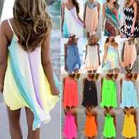 Womens Beach Dress Bikini Cover Up Kaftan Holiday Sleeveless Boho Long Top Dress