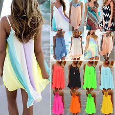 Womens Summer Chiffon Beach Wear Bikini Cover Up Kaftan Loose Swing Sun Dress AU