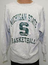 vtg MICHIGAN STATE BASKETBALL 1990 Champion Reverse Weave Gray SWEATSHIRT XL 90s