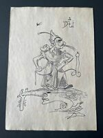 Salvador Dali drawing on paper signed & stamped mixed media