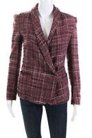 Isabel Marant Etoile Womens Tweed Plaid Button Down Blazer Jacket Pink Size S