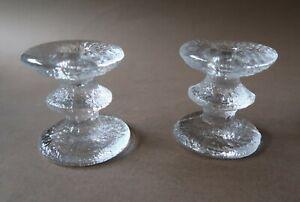 **Vintage 7.5cm Tall Pair Of Iittala Festivo Crystal Candle sticks