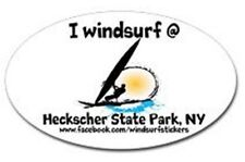 "I Windsurf @ Heckscher State Park, Ny Bumper/Window Sticker Oval 3"" X 5"""