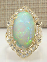 9.05 Carat Natural Opal 14K Yellow Gold Diamond Ring