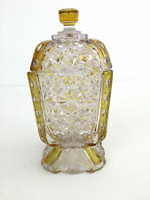 Antique clear glass with amber side sugar bowl & lid, Daisy & Button 1880-1890's