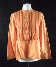 9ef3fe52574477 ETRO MILANO pure silk crinkle medium orange shirt size 40 UK 12