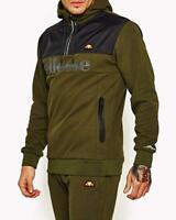 Ellesse Mens Hoodie Hoody Overhead Zip Neck Olive Logo Dark Green New RRP £55
