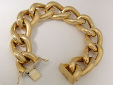 14K Yellow Gold Bold Hollow Link Fashion Bracelet 61.8 grams - Pre-Owned