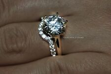 3.45 CTW Solitaire Wedding Engagement Set Two Toned Real 14k White/Yellow Gold