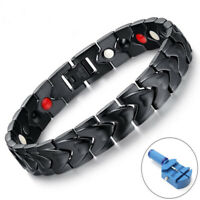 Men's Stainless Steel Magnetic Therapy Health Bracelet Pain Relief Black Color