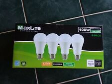 4-Pack 100W Soft White 2700K 15W 1600 lumens Dimmable LED MaxLite Lightbulbs