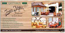 """AK lang, Federow bei Waren Müritz, Gasthaus """"Zum Jäger"""", drei Abb., um 1998"""