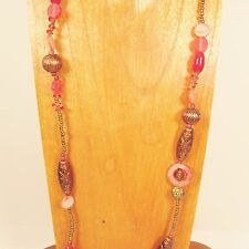 """38"""" Long Red Copper Vintage Style Shell Mixed Bead Glass Seed Bead Necklace"""