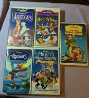 Walt Disney Animated Movies VHS Lot Clamp Shell Melody Rescuers Aristocats More