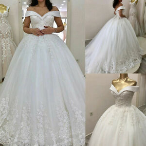 Wedding Dresses Crystal Beaded Court Train Lace Applique Tulle Gown Lace Up Back