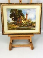 Vintage Original Watercolour signed C J Ward Riverside Cottage Framed