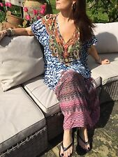 SUN & SEA PARIS BEACH SUMMER KAFTAN TUNIC COVER UP MAXI DRESS ONE SIZE FITS12-18