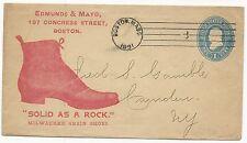US ADV Cover Postal Stationery Scott #U300 Grain Shoes Boston, MA 1891