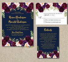 Personalized Burgundy Blush Bohemian Wedding Invitation Suite with Envelopes
