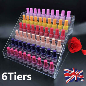 6Tier Clear Acylic nail polish stand Display Stand Holder Cabinet Organizer Rack