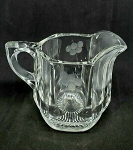 Vintage Collectible Clear Etched Glass Creamer With Handle 4 oz. Tableware