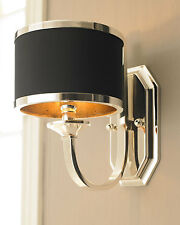French Antique Modern Horchow Wall Sconce Silver & Black Shade Stunning $250 New